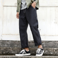 S XXL 2018 new autumn Japanese hair stylist retro washed jeans male loose straight casual solid color jeans men's trousers