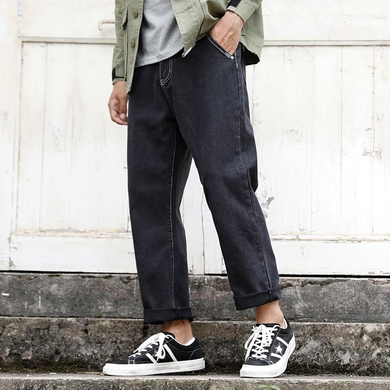 S-XXL 2018 nouveau automne japonais cheveux styliste rétro lavé jeans mâle lâche droite décontracté couleur unie jeans hommes pantalon