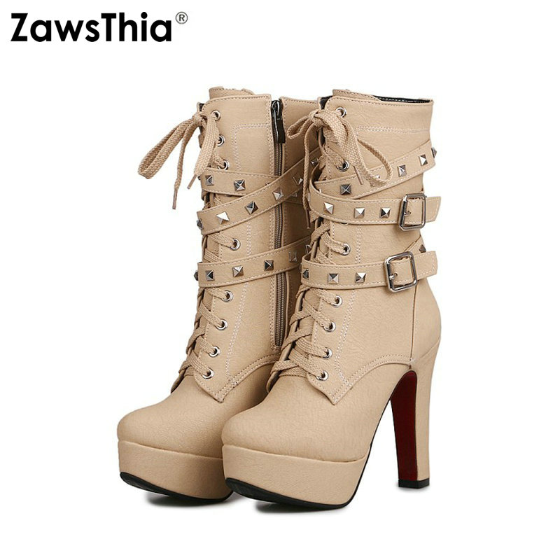 ZawsThia wholesale promotion lace up woman high heels platform shoes with buckle strap rivets stud. women ankle boots size 45 46