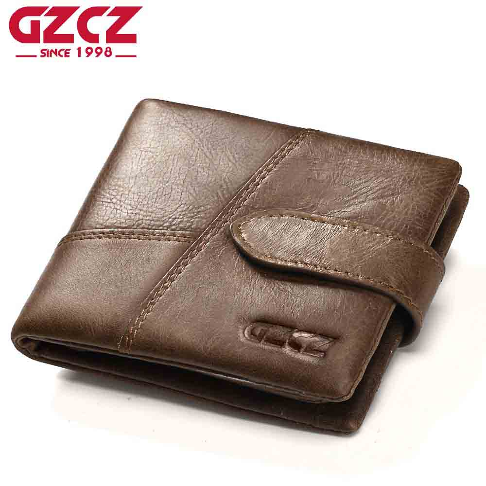 GZCZ Famous Brand Men Wallets Luxury Genuine Cow Leather Design Male Purse with Coin Pocket Hasp Zipper Short Vintage Wallet famous brand frist cow leather 2015 new arrival men wallets male money pocket short design retro organizer purse move card slots