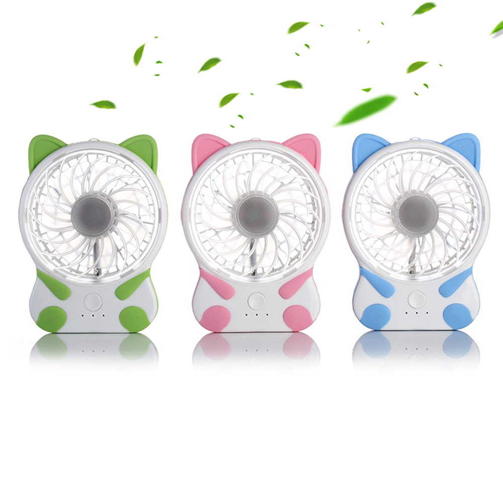 Fashion Mini Desk Fan Lovely Cat Shape Rechargeable Fans Micro USB Charge For Home Office Travel Outdoor Portable Gadget QJY99