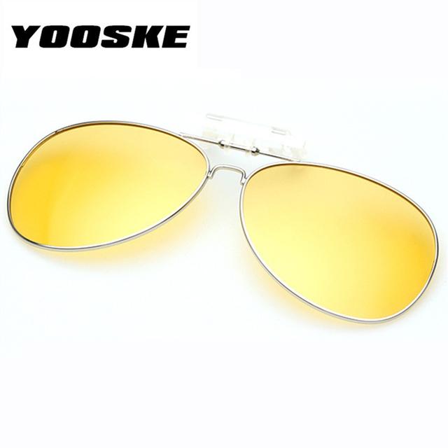 YOOSKE Polarized Clip on Sunglass Men Women clip on Myopia Glasses Mirror UV400 clip Sun Glasses Night Vision Driving Eyeglasses