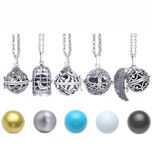 Mexico Chime Music Angel Ball Caller Locket Necklace Vintage Pregnancy Necklace for Aromatherapy Essential Oil Pregnant Women mexico chime music bell angel ball caller locket necklace flower pregnancy necklace perfume aromatherapy essential oil necklace