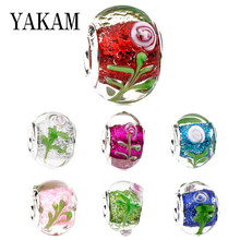 Fit Original Pandora Charms Armband Farbe Emaille Rose Blume Opal Klar Glas Murano Perlen Mujer Pulsera Zubehör DIY Armreif(China)