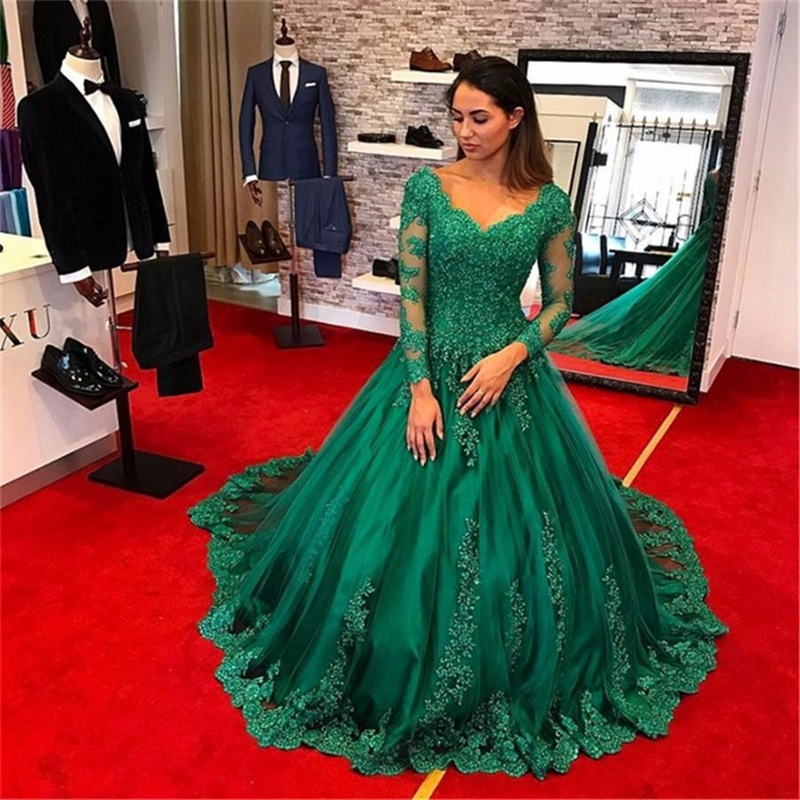 Green Evening Ball Gowns 2019 New Fluffy Dress Lace Up Back Long Sleeves Tulle Sweep Train Cap Shoulder Floor Length Formal Gown