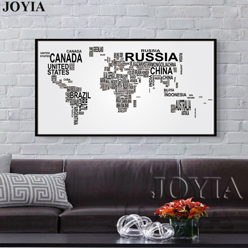large world map canvas art english words country names word art black and white print wall