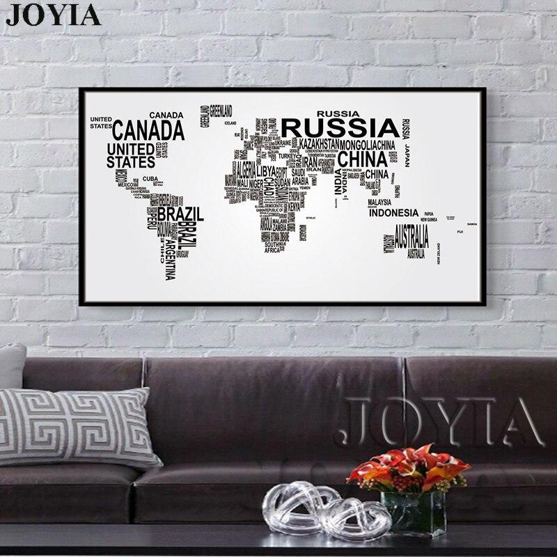 Große Weltkarte Leinwand Kunst Englische Wörter Land Namen Wort ...