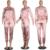 Pink Casual Cremallera del Satén Mujeres Largo Femme Combinaison Mono Flojo 2 Unidades de Manga Larga A Rayas Negro Playsuit Trajes