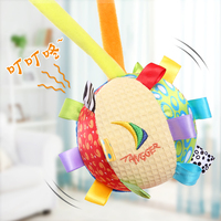 1pc Night Appease Ball Baby Colorful Hand Grasp Label Pacify Cloth Rattles Bell Early Development Infant