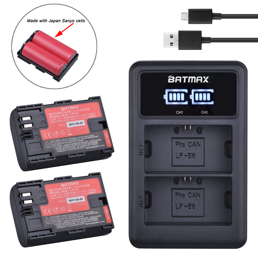2 pc LP-E6 LP E6 LP-E6N Batterie Japan Sanyo Zellen + LED Dual USB Ladegerät für Canon EOS 6D 7D 5DS 5DSR 5D Mark II 5D 60D 60Da 70D 80D