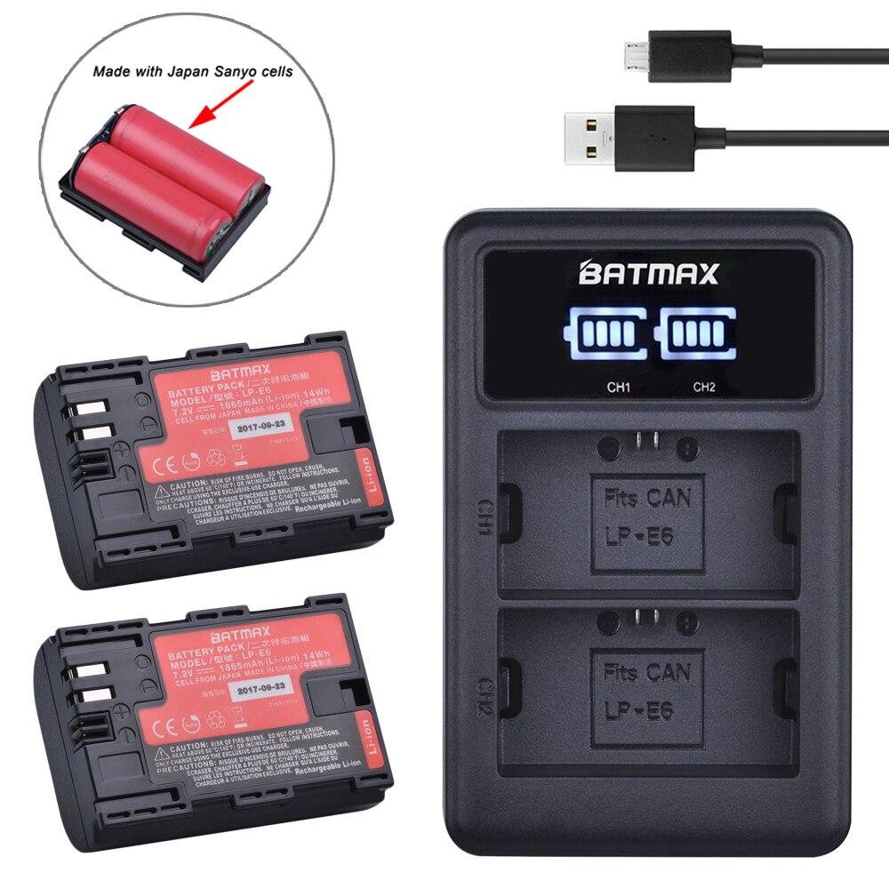 2 pc LP-E6 LP E6 LP-E6N batería Japón Sanyo celular + LED Dual USB cargador para Canon EOS 6D 7D 5DS 5DSR 5D Mark II 5D 60D 60Da 70D 80D