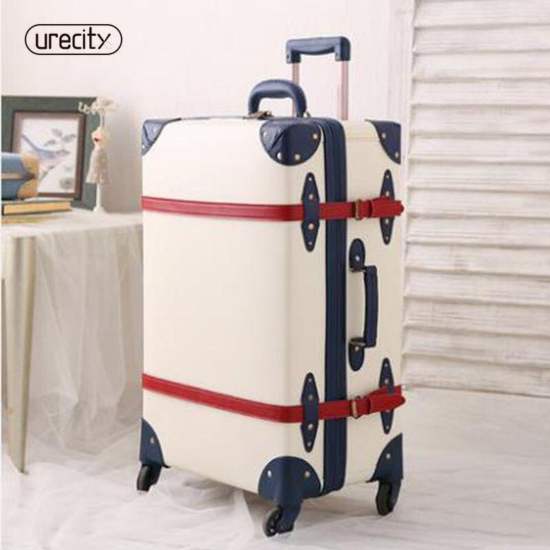 2018 новый ремень с чемодан Ретро замок багажа кожа pu материала pp окружающей среды счетчик прокатки высокое качество, Бесплатная доставка