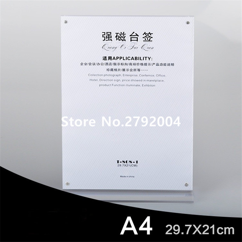 20pcs/lot A4 strong magnetic advertising tag sign card display stand Acrylic table Desk menu price Label Holder Stand acrylic trapezoidal block photo frame price tag sign label paper list clip magnetic name card display rack table desktop stand