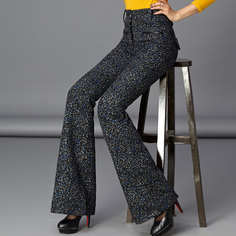 Autumn Winter Women Wool Trousers High Waist Woolen Flare   Pants     Capris   OL Work Wear Casual   Pants   Formal Straight   Pants   Wide Leg
