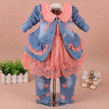 Conjunto de Ropa para Niñas, ropa para niña bebé, traje de 3 piezas, abrigo, pantalones vaqueros, otoño primavera 2019, ropa vaquera para niños pequeños