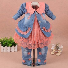 купить Girls clothes for children Set baby girl clothes 3 pieces suit coat denim pants 2019 autumn spring kids toddler cowboy clothes онлайн