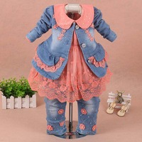 Girls clothes for children Set baby girl clothes 3 pieces suit coat denim pants 2019 autumn spring kids toddler cowboy clothes