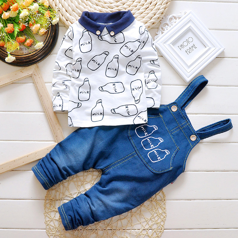 1e962bc5c 2018 New Boys Cute Set Pattern Clothing + Jeans Bib Pants Fashion ...