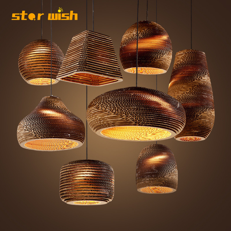 Modern Wood Paper Honeycomb Pendant Lights Carton  Bird Cage E27 Banboo Pendant Lamp For Living Room Restaurant Cafe Shop