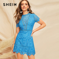 SHEIN Blue Open Back Guipure Lace Short Dress 2019 Summer Women Round Neck A Line High Waist Fit And Flare Elegant Dresses