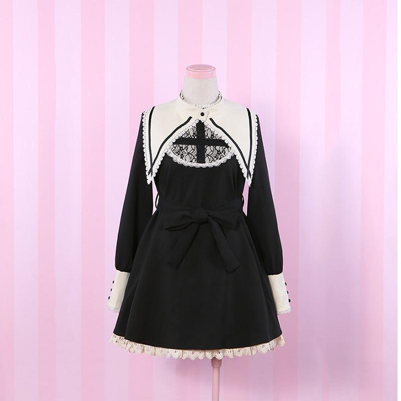 Anime japonés chicas Kawaii Lolita vestido negro de manga larga ...