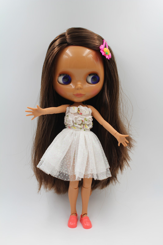Free Shipping BJD joint RBL-225J DIY Nude Blyth doll birthday gift for girl 4 colour big eyes dolls with beautiful Hair cute toy купить