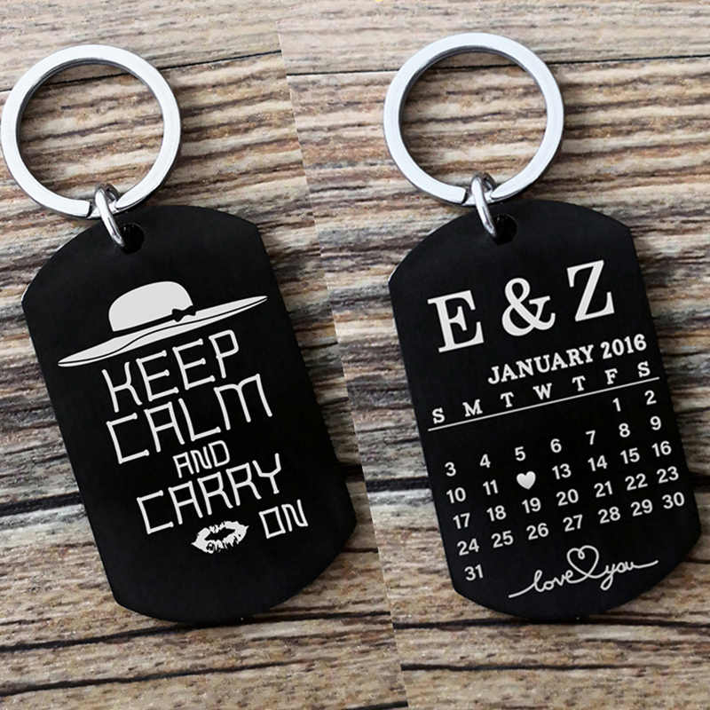 Silver/Black Custom Personalized Calendar Keychain Engraved Cute Stainless Steel Key Chain Anniversary Key Ring for Women or Men