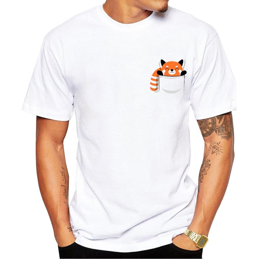 2019 참신 패션 재미있는 남자 티셔츠 인쇄 레드 팬더 디자인 티셔츠 좋은 품질의 캐주얼 탑스 하라주쿠 남성 티 셔츠