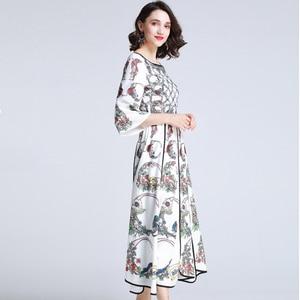 Image 2 - AELESEEN Summer Bohemian Women Long Dresses Luxury Flare Sleeve Runway Fashion 2019 Floral Print Asymmetrical Designer Dress