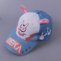 Cute DVA Rabbit Ear Baseball Cap Women Cartoon Printed Lady Hat Japanese Comic Hot Sale D