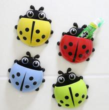 1PC Ladybug toothbrush holder Toiletries Toothpaste Holder Bathroom Sets Suction Hooks Tooth Brush container ladybird on