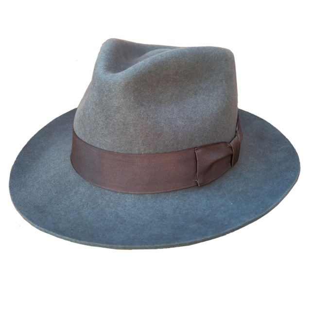 Classic Men s Wool Felt Victorian Vintage Godfather Fedora Gangster Mobster  Hat- Gray with Gray Band 9706a40ee59