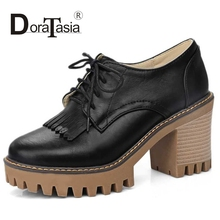 DoraTasia Big Size 34-43 Fashion Women School Girl's Chunky Heel Lace Up Spring Autumn Shoes Round Toe Platform Casual Pumps