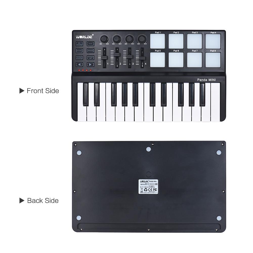 Image 5 - WORLDE Panda MINI 25 Key Ultra Portable USB MIDI Keyboard Controller 8 Colorful Backlit Trigger PadsPiano
