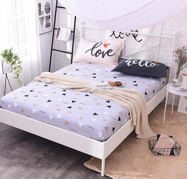 Attractive 1 Pcs Cotton Fitted Sheet Mattress Cover Bed Sheet Sheets Elastic Twin Full  Queen Double Size