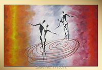 אוהבי תקציר מודרני יד מצוירת על בד ציור שמן ריקוד 1 פנל אמנות סט קישוט הבית וול תמונה לסלון חדר