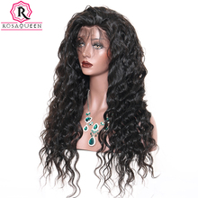 Full Lace Human Hair Wigs For Women Loose Wave Black Brazilian Wig 180% Density Pre Plucked With Baby Hair Rosa Queen Remy