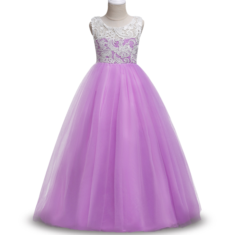 2018 High quality Weddings Lace Tulle Girl Dress For 4-15 yrs Kids Pageant Party Wedding Bridesmaid Ball Gown Prom dress цены онлайн