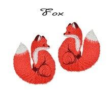 AHYONNIEX marka demir On işlemeli sevimli tilki yamalar giysi çanta DIY aplike nakış yamalar demir yama giysi için