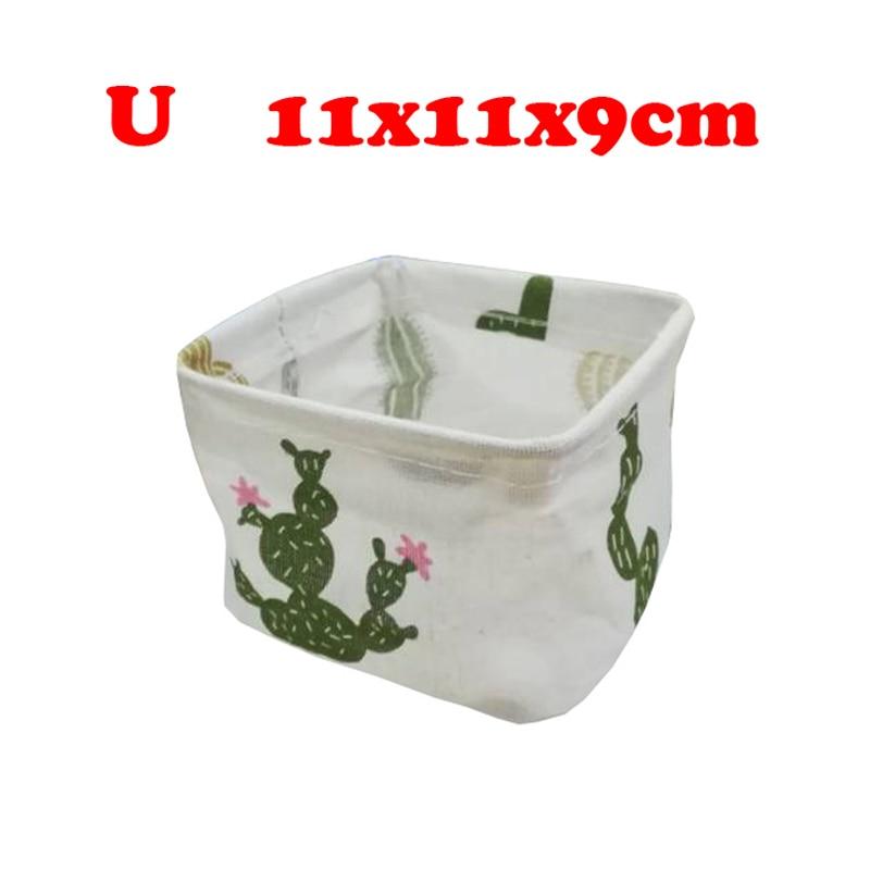 Настольный ящик для хранения с милым принтом, водонепроницаемый органайзер, хлопок, лен, корзина для хранения мелочей, шкаф, нижнее белье, сумка для хранения - Цвет: U