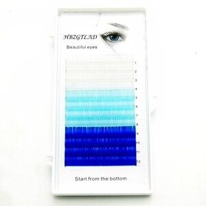 Image 2 - HBZGTLAD C/D カール 0.07/0.1 ミリメートル 8 15 ミリメートル偽まつげ青 + 緑 + 王室ブルーまつげ個別の色のまつげフェイクまつげエクステンション