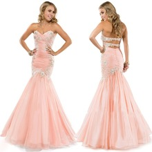 New Designer Appliques Pleated Corset Chiffon Peach Prom Dress Mermaid JR712 Sexy Open Back open back scallop edge boxed pleated cami dress