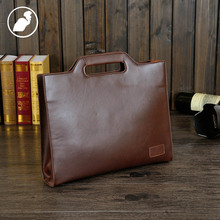 PUNKLADY New 2016 men famous brands Italian leather brown zipper business style briefcases vintage document laptop shoulder bags