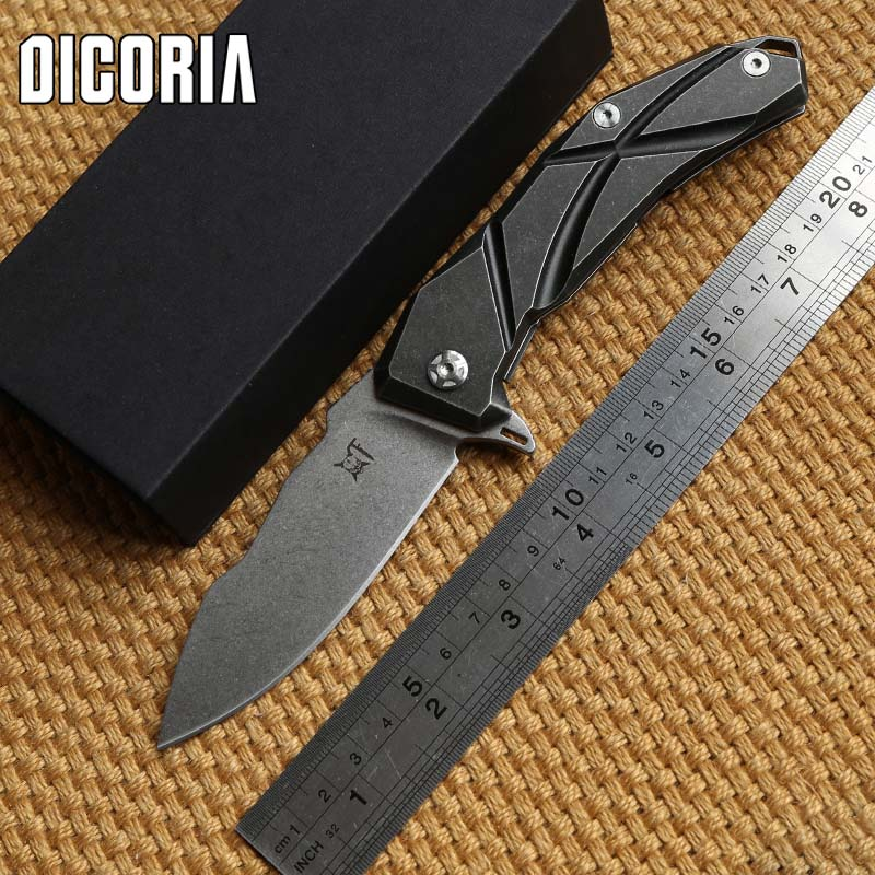 DICORIA Sailing original design Flipper folding knife S35VN Blade TC4 Titanium handle camp Drills Saws outdoor knives EDC tools ontario camp knife