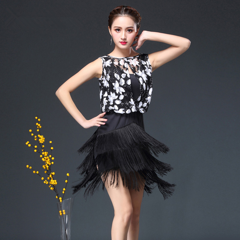 practice fringe latin dress dancing dress women tango rumba latin dance dress latin dance competition dresses for girls women