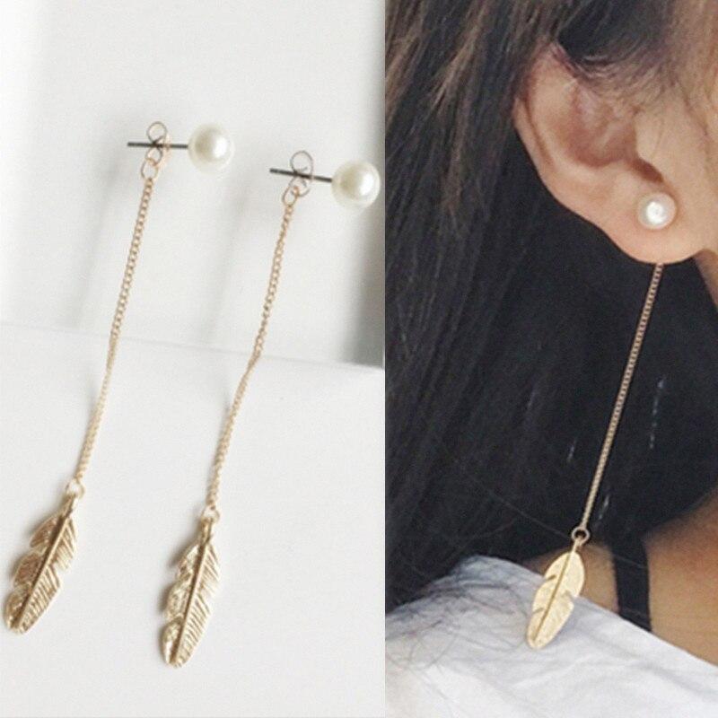 INS Earrings For Women Simulated Pearls Long Tassel Dangle Leaf Feather Drop Brincos Bijoux boucle d'oreille Jewelry Earring