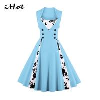 IHOT Plus Size Women Dresses 5xl Summer Floral Printed Button Patchwork Vintage 50s 60s Rockabilly 2017