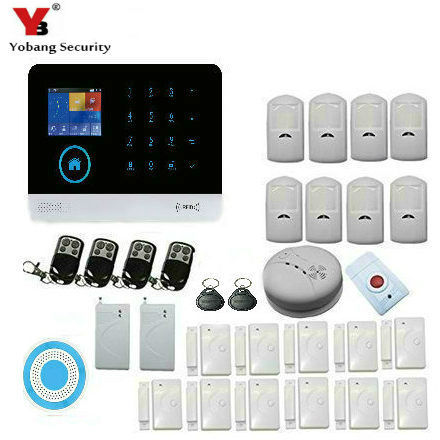 все цены на Yobang Security Wireless WIFI Home GSM GPRS RFID Security Alarm With Wireless indoor Siren and Shock Sensor Smoke Detector онлайн