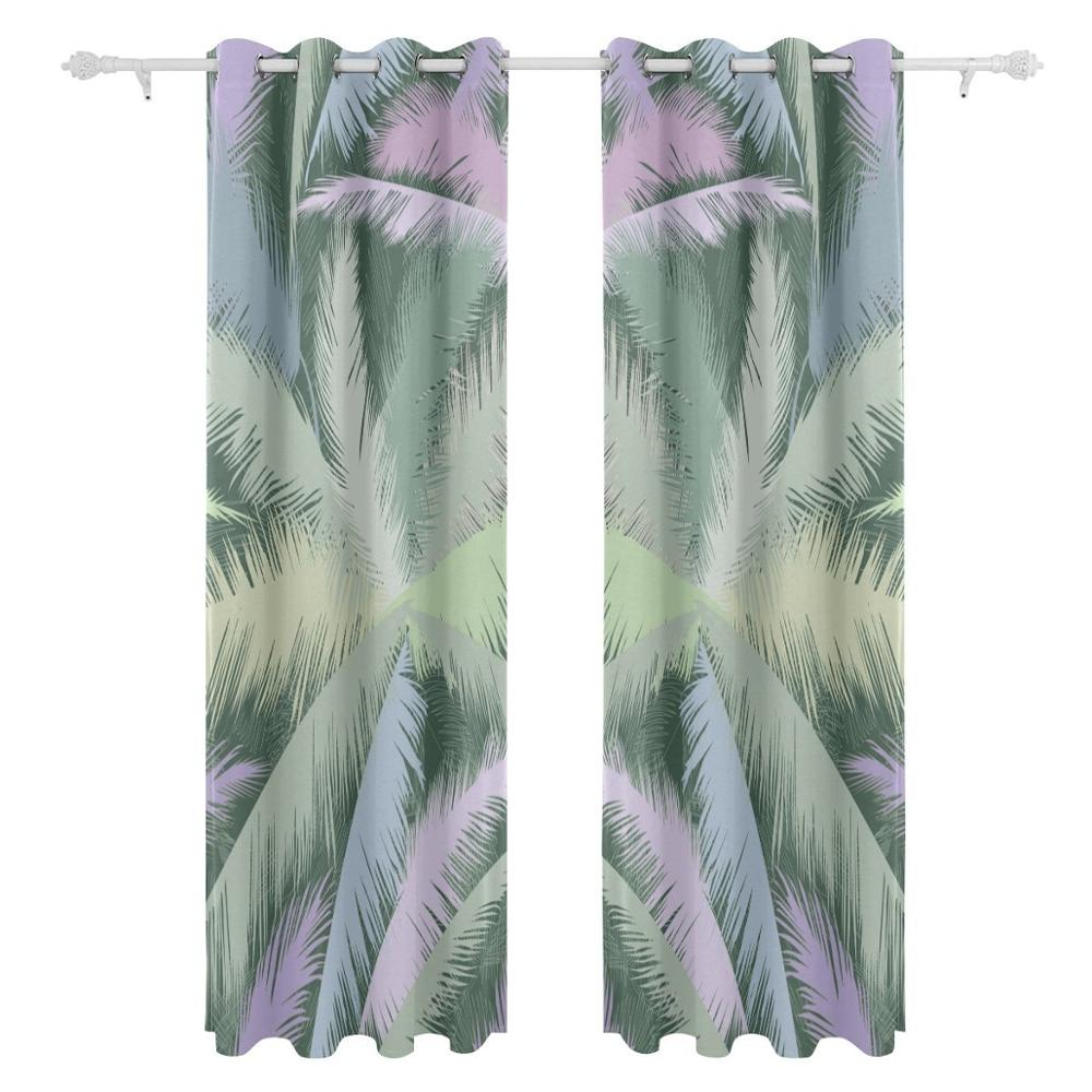 Vintage Palm Tropical Leaf Curtains Drapes Panels Darkening Blackout  Grommet Room Divider For Patio Window Sliding Glass Door In Curtains From  Home U0026 Garden ...