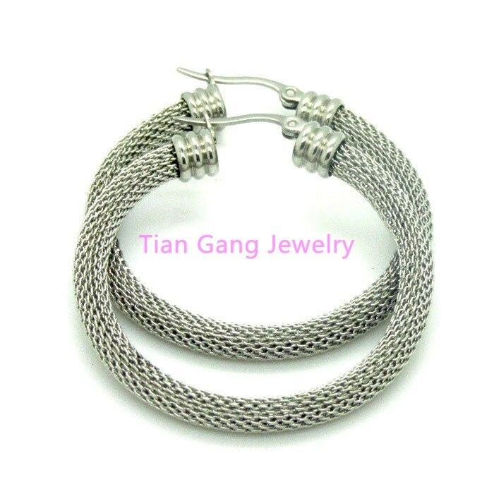 a97263621a9d 30 40 50mm nuevo diseño plata moda mujer Acero inoxidable jewelr malla  esposas ronda al por mayor envío gratuito